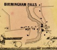 Birmingham Falls, Ausable, New York 1856 Old Town Map Custom Print - Clinton Co.