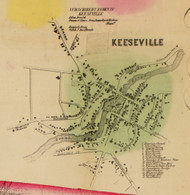 Keesville, Ausable, New York 1856 Old Town Map Custom Print - Clinton Co.