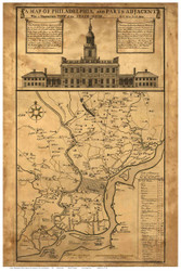 Philadelphia 1752 - Statehouse - Old Map Reprint PA Cities