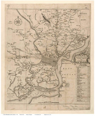 Philadelphia Area 1753 - Scull - Old Map Reprint PA Cities