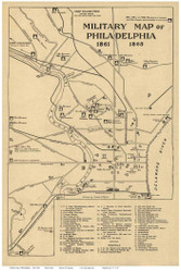 Philadelphia 1865 - Military Map - Old Map Reprint PA Cities
