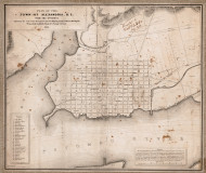 Alexandria 1845 - Index to points of interest and text - Old Map Reprint - Virginia Cities