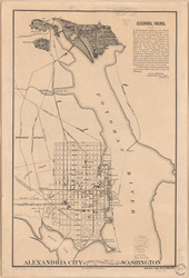 Alexandria 1900 - Showing Connections with Washington - Old Map Reprint - Virginia Cities