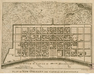 New Orleans ca 1761 - Old Map Reprint - Louisiana Cities