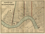New Orleans 1845 - Old Map Reprint - Louisiana Cities