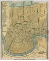 New Orleans ca 1893 - Old Map Reprint - Louisiana Cities