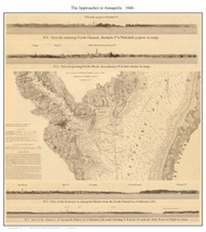 Annapolis - Approaches 1846 - U.S. Coast Survey - Old Map Reprint Maryland Cities