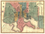 Baltimore 1836 - Lucas - Old Map Reprint Maryland Cities