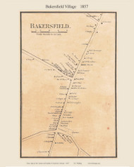 Bakersfield Village, Vermont 1857 Old Town Map Custom Print - Franklin Co.
