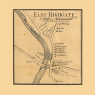 East Highgate Village, Vermont 1857 Old Town Map Custom Print - Franklin Co.