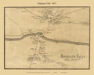 Highgate Falls Village, Vermont 1857 Old Town Map Custom Print - Franklin Co.