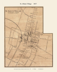St. Albans Village, Vermont 1857 Old Town Map Custom Print - Franklin Co.