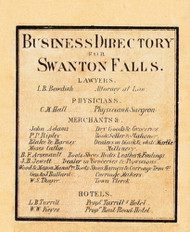 Swanton Falls Business Directory, Vermont 1857 Old Town Map Custom Print - Franklin Co.