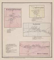 Enfield Center, Caroline Center, Slaterville and Motts Corners 21, New York 1866 - Old Town Map Reprint - Tompkins Co. Atlas