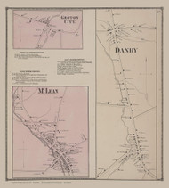 Groton City, McLean and Danby Villages 33, New York 1866 - Old Town Map Reprint - Tompkins Co. Atlas