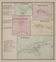 Speedsville, Free Hollow, Trumbull's Corners, Peruvillem and Newfield Villages 51, New York 1866 - Old Town Map Reprint - Tompkins Co. Atlas