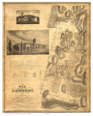 Amherst 1833 - Old Map Reprint Hampshire County - Massachusetts Cities Other