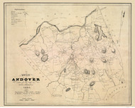 Andover 1830 - Old Map  Essex County - Massachusetts Cities Other
