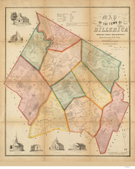 Billerica 1853 - Old Map  Middlesex County - Massachusetts Cities Other