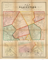 Blackstone 1854 - Old Map  Worcester County - Massachusetts Cities Other