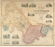 Cambridge 1854 - Old Map  Middlesex County - Massachusetts Cities Other