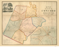 Concord 1852 - Old Map  Middlesex County - Massachusetts Cities Other