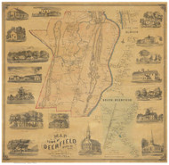 Deerfield 1855 - Old Map Reprint Franklin County - Massachusetts Cities Other