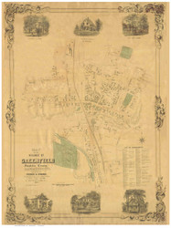Greenfield 1852 - Old Map Reprint Franklin County - Massachusetts Cities Other