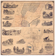 Greenfield 1855 - Old Map Reprint Franklin County - Massachusetts Cities Other