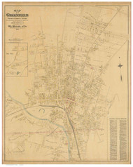 Greenfield 1895 - Old Map Reprint Franklin County - Massachusetts Cities Other