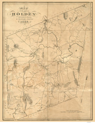 Holden 1832 - Old Map  Worcester County - Massachusetts Cities Other