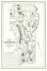 Lancaster 1851 - Old Map  Worcester County - Massachusetts Cities Other