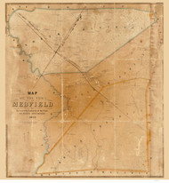 Medfield 1852 - Old Map  Norfolk County - Massachusetts Cities Other
