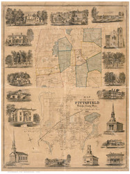 Pittsfield 1855 - Old Map Reprint Berkshire County - Massachusetts Cities Other