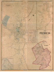 Plymouth 1874 - Old Map  Plymouth County - Massachusetts Cities Other