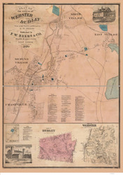 Webster and Dudley 1870 - Old Map  Worcester County - Massachusetts Cities Other