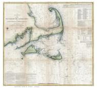 Martha's Vineyard & Nantucket 1857 USCGS (Seacoast - Nantucket Shoals) - Old Map Custom Print