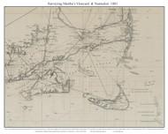 Martha's Vineyard & Nantucket 1881 USCGS (Seacoast - Nantucket Shoals) - Old Map Custom Print