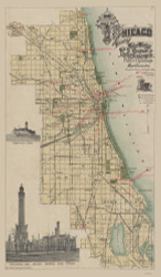 Chicago 1896 Water Works - Old Map Reprint -  Illinois Cities