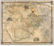 Portland 1851 Walling - Old Map Reprint - Maine Cities Other