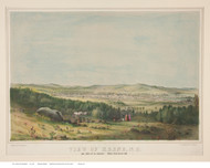 Keene, New Hampshire ca1850 Color Bird's Eye View - Old Map Reprint