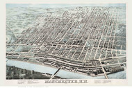 Manchester, New Hampshire 1876 Bird's Eye View - Old Map Reprint