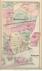 Babylon Town, part of Huntington Town and Commac Village, New York 1873 Old Town Map Reprint - Suffolk Co. (LI)