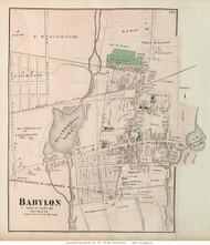 Babylon Village, New York 1873 Old Town Map Reprint - Suffolk Co. (LI)
