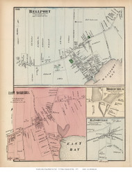 Bellport, Moriches, East Moriches, and Manorville Villages - Brookhaven, New York 1873 Old Town Map Reprint - Suffolk Co. (LI)