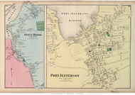 Port Jefferson and Stony Brook Villages - Brookhaven, New York 1873 Old Town Map Reprint - Suffolk Co. (LI)