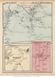 Setauket, East Setauket, Mount Sinai, and Lakeland Villages - Brookhaven, New York 1873 Old Town Map Reprint - Suffolk Co. (LI)