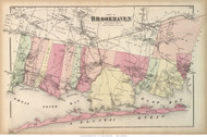 Brookhaven Town - Southern Part, New York 1873 Old Town Map Reprint - Suffolk Co. (LI)