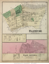 Flatbush Town, East Astoria and East Flatbush Villages, New York 1873 Old Town Map Reprint - Kings Co. (LI)