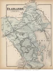 Flatlands, New York 1873 Old Town Map Reprint - Kings Co. (LI)